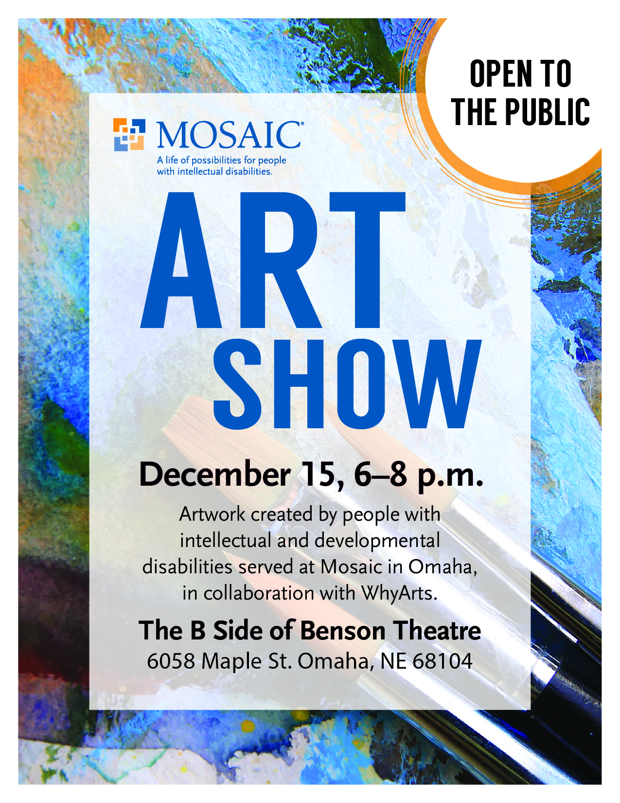 MOSAIC Art Show Dec  15 - Benson Theatre